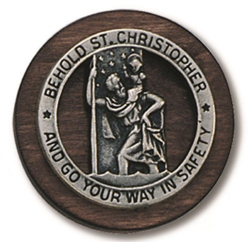 Pewter Auto Visor Clip (Round Saint St Christopher Go Your Way In Safety Protection Visor Clip Wood & Pewter)