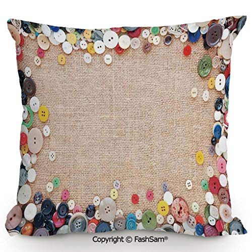 "FashSam Polyester Throw Pillow Cushion Buttons Collection Fabric Texture Canvas Frame Sewing Needlecraft Contemporary Picture for Sofa Bedroom Car Decorate(18"" Wx18 L) from FashSam"