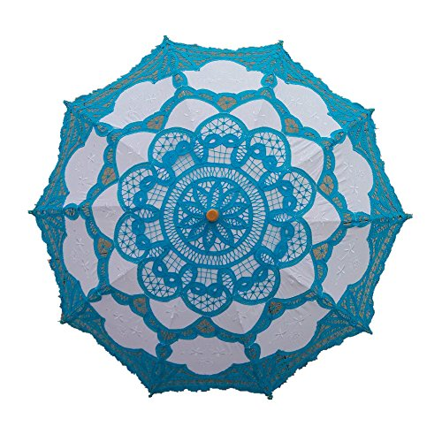 Handmade Blue Lace Parasol Umbrella Wedding Bridal 30 Inch Adult Size (Handmade Umbrella)
