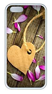 Corrugated Paper Heart Tag Customizable TPU Cases & Covers for iPhone 5S/5 - White