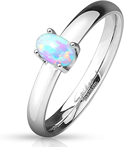 Womens Synthetic Opal Solitaire Engagement Ring Stainless Steel Promise Band
