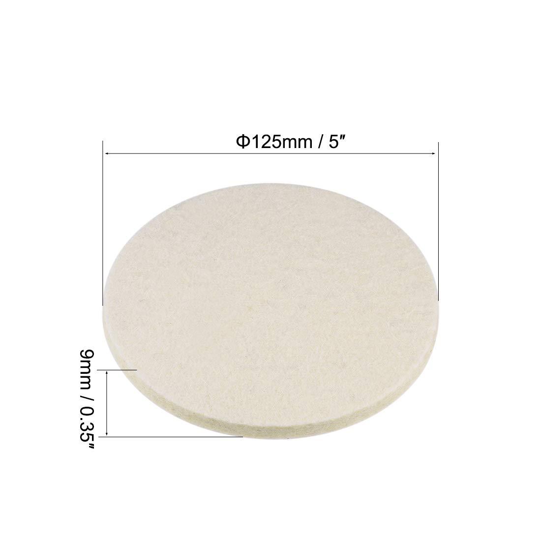 Buffing Wheels Polish Pad Disc,Flocking Hook /& Loop Back for Random Orbital Sander 4pcs sourcing map 4 inch Wool Felt Polishing Pad
