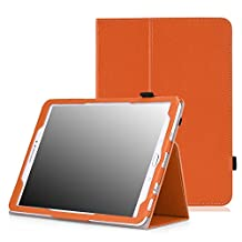 MoKo Tab S2 9.7 Case, Slim Folding Cover Case for Samsung Galaxy Tab S2 9.7/S2 Plus 9.7 LTE Android 6.0/7.0 2017 Version, ORANGE (With Auto Wake / Sleep & Stylus Pen Loop)