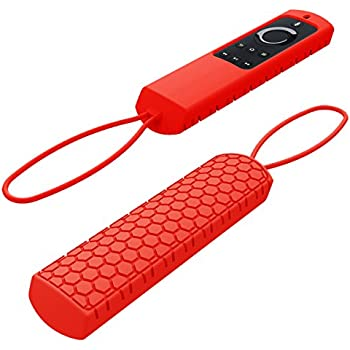 Sahiyeah for Fire TV Remote Case,Light Weight Anti Slip Waterproof Shockproof Silicone Protective Case Cover Skin for Fire TV and Fire TV Stick Voice Remote 5.9inch with Hand Strap,Red