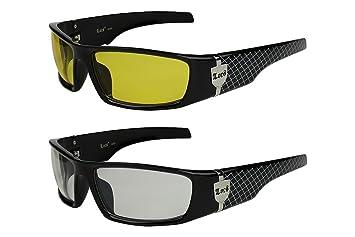 2er Pack Locs 9069 X 03 Sonnenbrillen Herren Damen Männer Brille - 1x Modell 02 (schwarz glänzend - Grid-Design/gelb getönt) und 1x Modell 04 (schwarz glänzend - Skull-Design/schwarz getönt) AYKWXlvToM