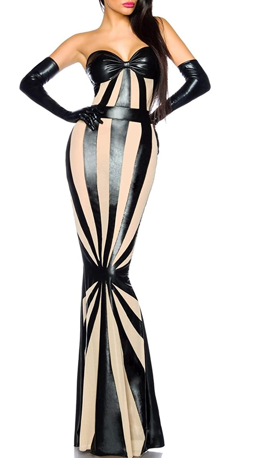 Black Wet Look Dress Long With White Mesh Striped Pencil Dress