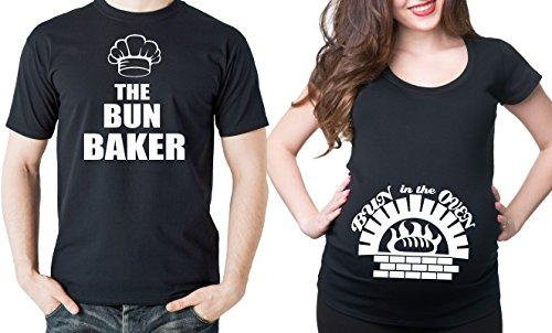 Bun Baker Couple Maternity Tee Shirt Bun in The Oven Dad and mom Maternity Couple New Baby Shower Shirts Pregnancy T-Shirt Men Large - Women Large