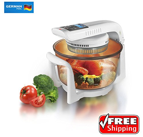 German Pool 120V 12 Litre Digital Cooking Oven, Convection Turbo, Toaster, Counter top, Halogen Cooking Pot
