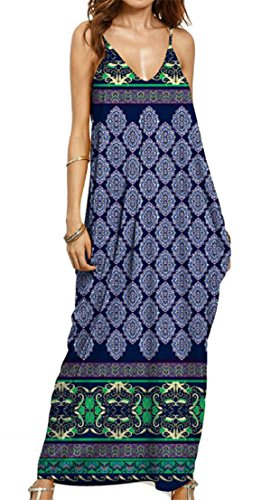 Ethnic Strap Women Beachwear 1 Maxi V Dress Boho Cromoncent Neck Printing Spaghetti q8HBE