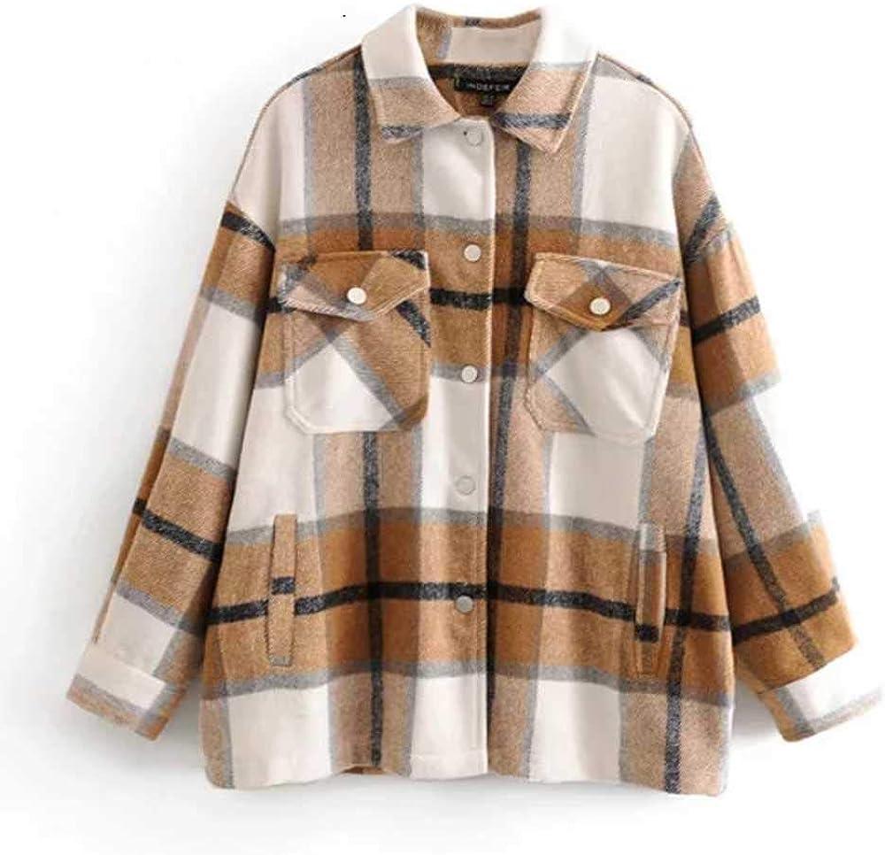 NOBRAND Otoño Invierno Plaid Chaquetas de Gran tamaño Loose Causal Checker Streetwear Coat