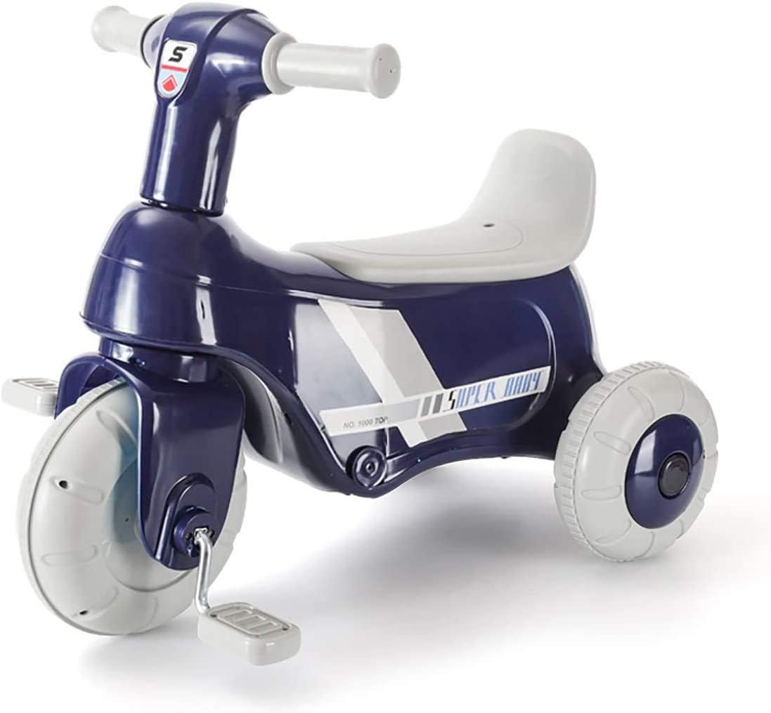 Triciclo eléctrico de motocicleta para niños, triciclo eléctrico/bicicleta con pedales desmontables, bicicleta para caminar, bicicleta de juguete con 3 ruedas para niños de 3 a 5 años (azul)