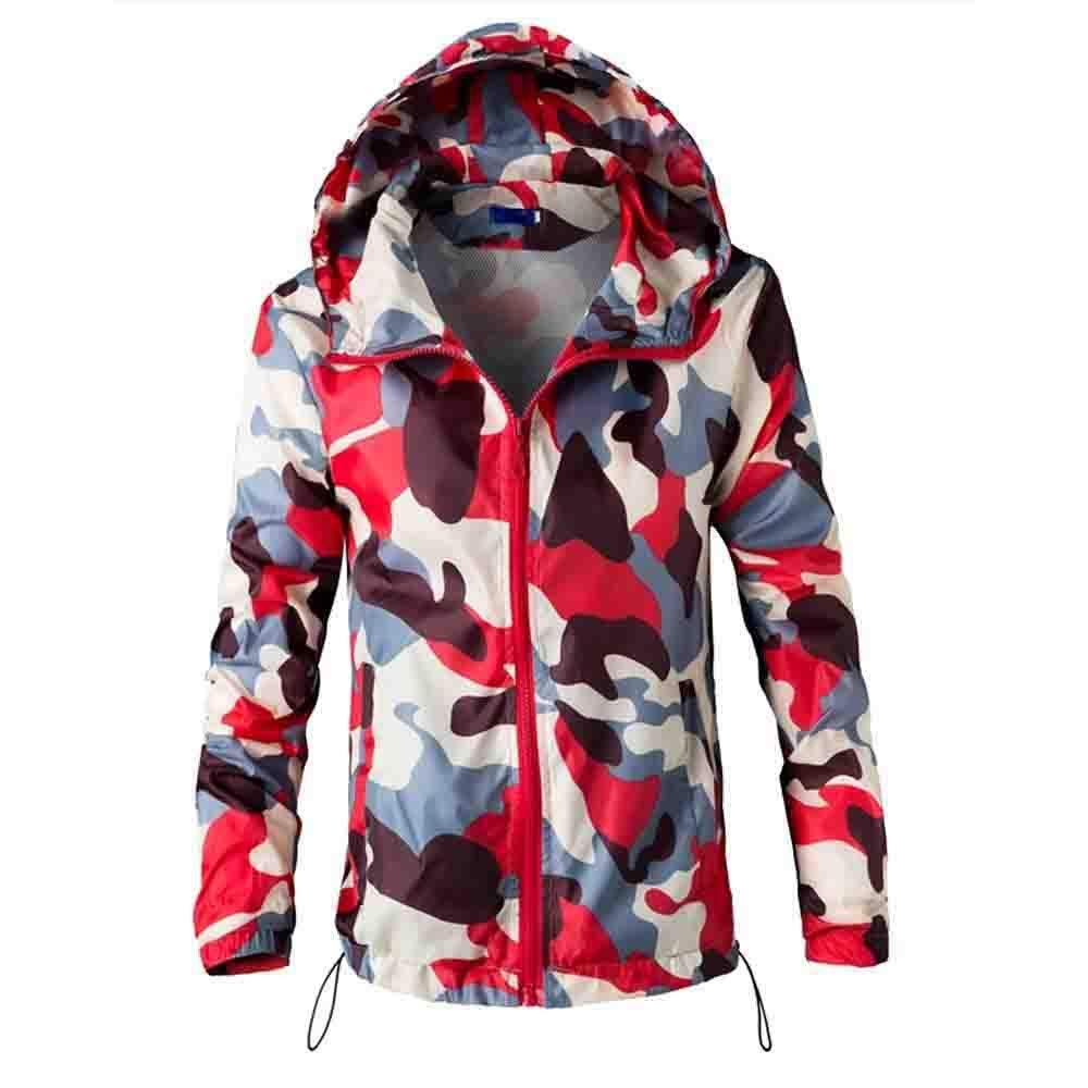 MEIbax Herren Langarm Camouflage Printed Kapuzenpullover Windbreaker Outwear Jacken Mäntel Sweatshirts Pullover Hoodie MEIbax Herren Shirt