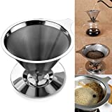 Generic Cone Shaped Stainless Steel Coffee Dripper Double Layer Mesh Filter Basket Home Kitchen Tool