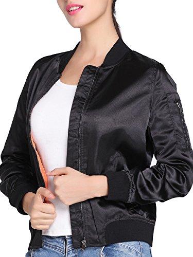 NIELLO Women's Satin Quilted Jacket Short Padded Bomber Jacket Coat (Season Bomber Jacket)