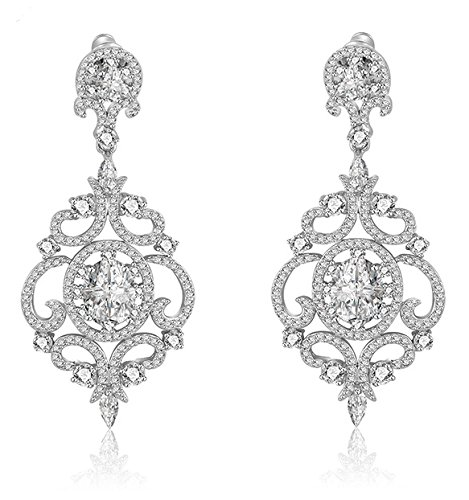 (LILIE&WHITE Victorian Cubic Zirconia Chandelier Dangle Earrings Drop For Women Wedding Bridal or Prom)