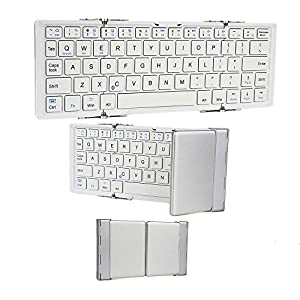 Cooper Cases (TM) Optimus Micromax Funbook Mini P410, Mini P410i, P365 Mini Bluetooth Keyboard in White & Silver (Collapsible Compact Portable Design; Built-in Rechargeable Lithium Battery)