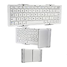 Cooper Cases (TM) Optimus Le Pan II / S / M97 (Matsunichi) / Mini (TC802A) Bluetooth Keyboard in White & Silver (Collapsible Compact Portable Design; Built-in Rechargeable Lithium Battery)