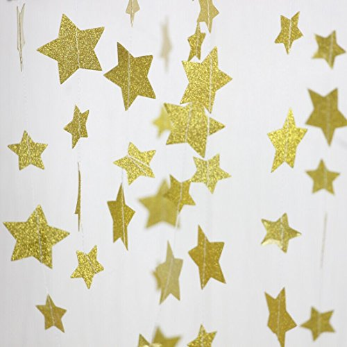 Gold Glitter Twinkle Star Garland - Sparkling Paper Banner Bunting Hanging Decoration Party Supplies - 13 Feet ( 2 Pcs ) - Happy Feet 2 Party Supplies