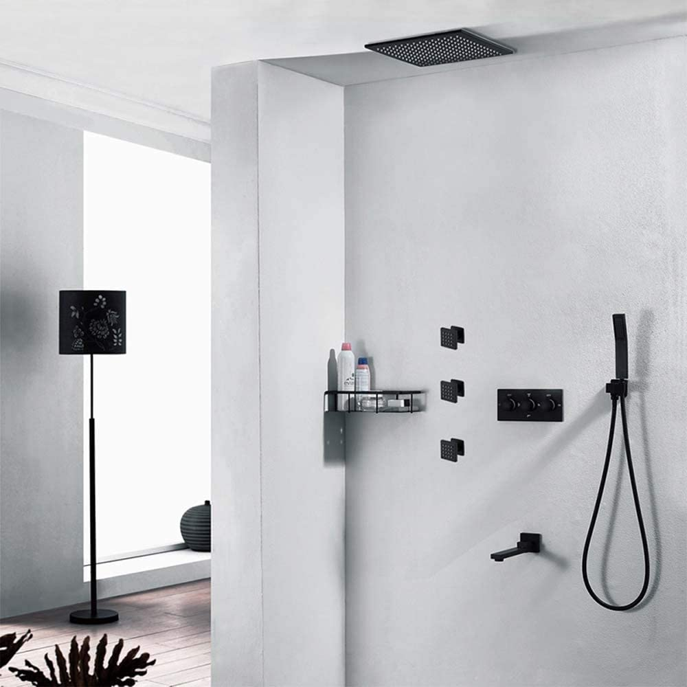 Xihou Válvula De Control Empotrada En Caliente Y En Frío Conjunto De Ducha Oculta En La Pared Negra Ducha De Lluvia De Dos Pulgadas con Rociador Superior Shower Set: Amazon.es: Hogar