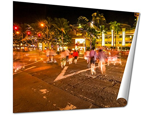 Ashley Giclee Fine Art Print, Waikiki People Shopping, 16x20, - Honolulu In Hi Shopping