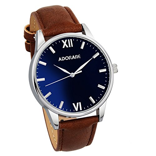 Quartz Watch for Men, Waterproof Wrist Watch with Classic Brown Leather and Japanese Quartz Movement for Boys Men Business Casual Office School