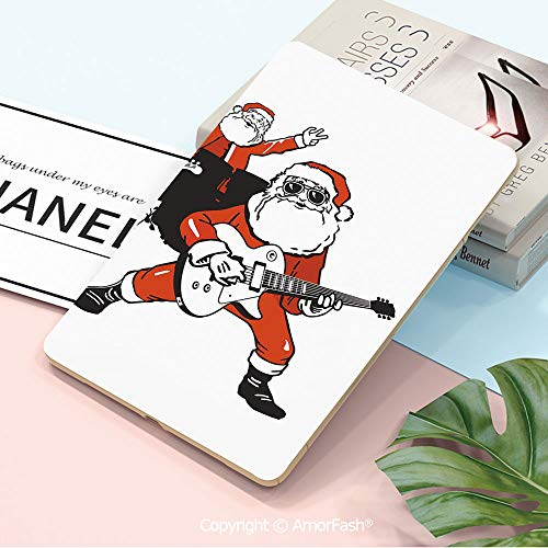 Printed Case for Samsung Tab A 10.5 inch SM-T590/T595 2018 with Auto Sleep/Wake,Funny,Santa Claus Rock Band Playing Drums Guitar Father Christmas Show Print Decorative,Orange Charcoal Grey