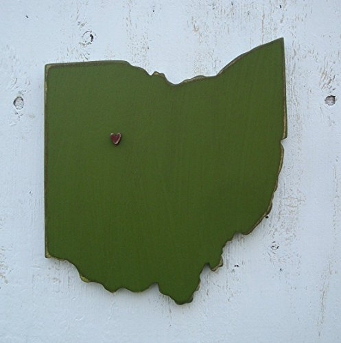 Ohio wood state wall art with heart