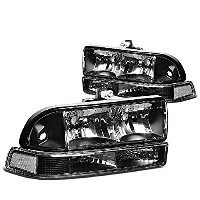 Replacement for Chevy S10/Blazer GMT 325/330 4Pcs Black Housing Clear Corner Headlight: Automotive