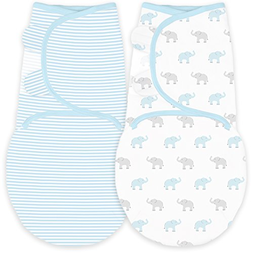 Amazing Baby Swaddle Blanket with Adjustable Wrap, Set of 2, Tiny Elephants and Stripes, Pastel Blue, - Blankets Swaddler Baby Blue