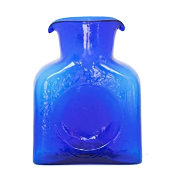 Auténtico blenko cristal botella de agua (garrafa) 8 pulgadas 36 oz- mar azul: Amazon.es: Hogar