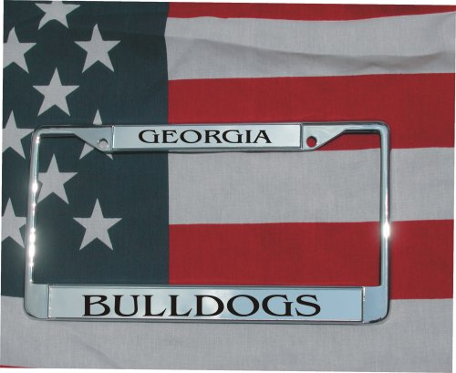 Georgia Bulldogs Laser Engraved License Plate Frame Chrome W/FREE SCREW COVERS