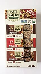 Taste of Nature - Organic Gluten Free Fruit and Nut Snack Bars (Cranberry, Almont, Brazil Nut) Pack of 18