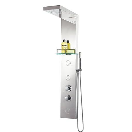 Phoenix columna de ducha termostática de acero inoxidable redondo ...