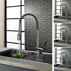 LXTY- Charmingwater Contemporary Brass Chrome Finish Single Hole Color Changing LED Kitchen faucet