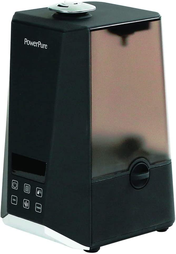 PowerPure 5000 Warm Cool Mist Ultrasonic Humidifier – Permanent Filter – LCD Display – Remote Control Included – Black