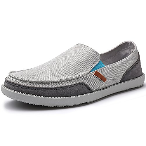 VILOCY Men's Casual Slip on Boat Shoes Comfortable Loafers Flats Canvas Sneakers Driving Shoes Light Gray 42 (Light Gray Mens Shoes)