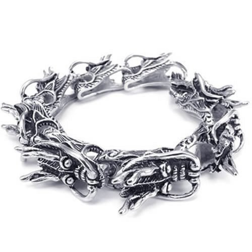 KONOV Heavy Wide Stainless Steel Gothic Dragon Biker Men's Bracelet, Black Silver, 9 Inch