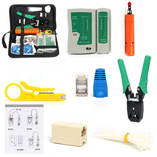 Yaetek Portable Ethernet Network Tool Cable Tester LAN Kit RJ45 Crimper Plug Crimping tool Set Punch Down RJ11 Cat5 Cat6 Wire Line Detector