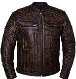 UNIK Mens Motorcyle Distressed Brown Look Scoter Reflective Leather Gunpocket Jacket (2XL Regular)