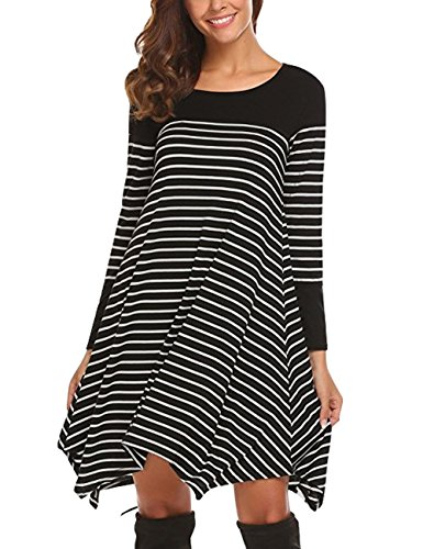 Slivexy Shift Dresses For Women, Women Plus Size Loose Asymmetrical Hem Striped Tunic Top Shirt Dress, Black, X-Large