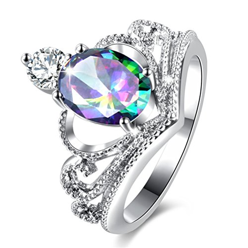 - TEMEGO 14k Gold Plated Silver Oval Mystic Rainbow Topaz Princess Crown Rings for Women Girls,Size 7