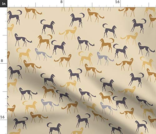 (Spoonflower Saluki Fabric - Sighthound Gryhound Windhund Dog Hound by Lobitos Printed on Petal Signature Cotton Fabric by The Yard)