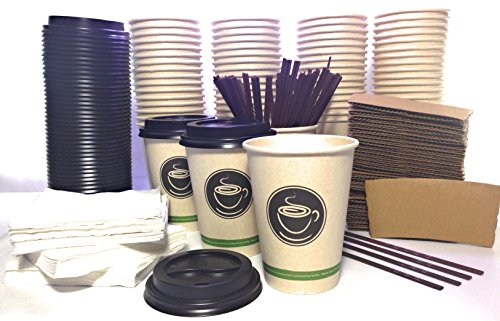 - Disposable Coffee cups with Lids, Sleeves, Straws, Napkins. Set of 100 Fancy 12 oz ECO FRIENDLY COMPOSTABLE cups made of Sugar cane paper. For Hot Tea Latte Cappuccino Home Office Party To-go Travel k
