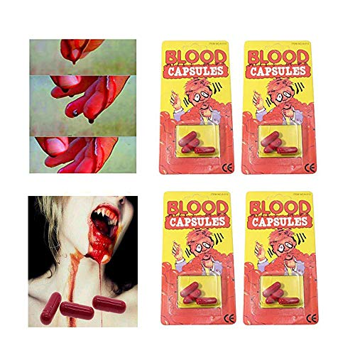 Unetox Blood Capsule Fake Realistic Fake Blood Mouth Liquid Capsule Pill Halloween Prop Fancy Dress Costume Accessory 12Pcs for $<!--$6.99-->
