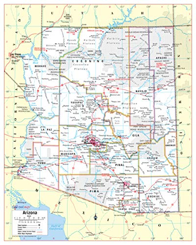 Cool Owl Maps Arizona State Wall Map Poster Rolled (Paper 24