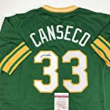 Autographed/Signed Jose Canseco Oakland Green Baseball Jersey JSA COA