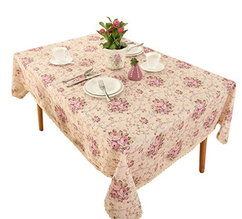 Vintage Flower Decorative Rectangle Linen Tablecloth by HIGHFLY - Printed Pattern Washable Table cloth Dinner Kichen Home Decor -Multi Colors & Sizes