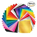 Arts & Crafts : Adhesive Vinyl Sheets - 50 Pack 12'' X 12'' Premium Permanent Self Adhesive Vinyl Sheets in 38 Assorted Colors for Cricut,Silhouette Cameo,Craft Cutters,Printers,Letters,Decals