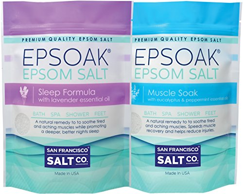 Epsoak Scented Epsom Salt Bundle - 2 Pack of Sleep 2lbs & Muscle Soak 2lbs. All-natural bath soaks (Peppermint Bath Salts compare prices)