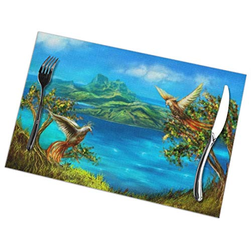 Placemats for Dining Table Set of 6 Fantasy Bird Lake Wear-Resistant Heat-Resistant Kitchen Table Mats 18